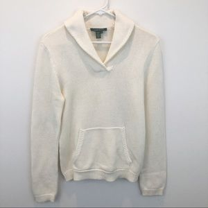 Ralph Lauren shawl neck cream cotton sweater